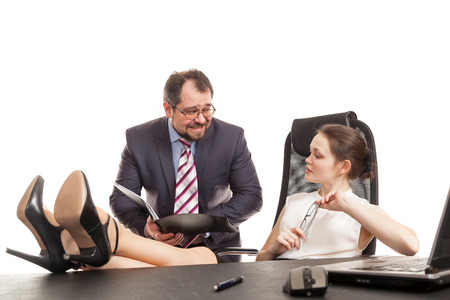 transfers: the secretary transfers documents to the business woman
