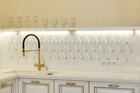 house ware: modern white kitchen sink and mixer