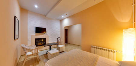bedroom wall: bedroom in modern style with a bed and a fireplace at a wall
