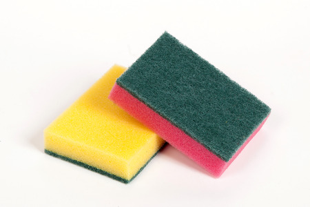 ware: two scouring sponges on the white isolated background Stock Photo