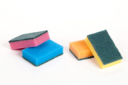 varnished: a set of scouring sponges on the isolated white background