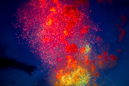 pyrotechnics: Colorful fireworks light up the night sky with dazzling display Stock Photo