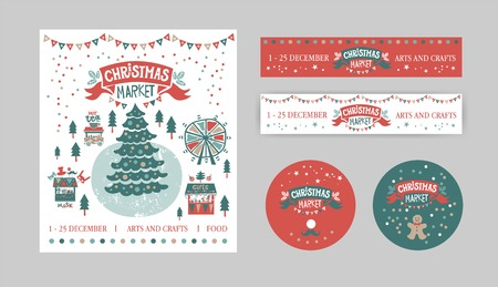 Christmas Set with tags, stickers, label, poster. Christmas Market emblem, sign. Christmas market poster template. Illustration gift shops, food and drinks, garlands. For winter Seasons Greetings