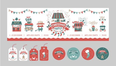 Christmas gift tags and stickers set. Christmas market, fair, festival poster template. Illustration gift shops, fireworks, food trucks, garlands, a carousel with horses. Vector illustration