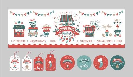 Weihnachtsgeschenkanhänger und -aufkleber eingestellt. Weihnachtsmarkt, Messe, Festivalplakatvorlage. Illustrationsgeschenkeläden, Feuerwerk, Imbisswagen, Girlanden, ein Karussell mit Pferden. Vektor-Illustration