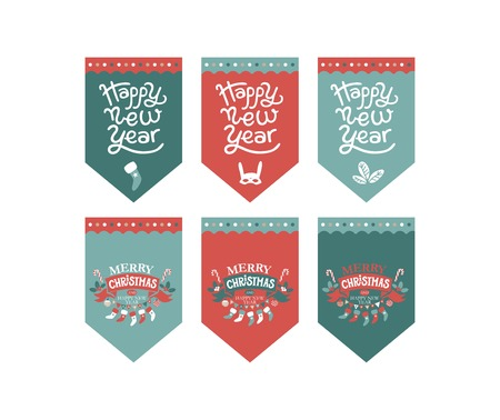 Flags design set for a festive garland with the inscription Merry Christmas and Happy New year. Mask rabbit, garland, sock for gifts. For new year decoration of rooms, Christmas trees, fair, market Illustration
