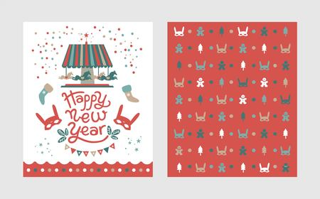 Happy New Year poster, postcard design template on festive background. Carousel with horses, man cookie, Christmas tree, confetti and garlands. For winter seasons greetings.