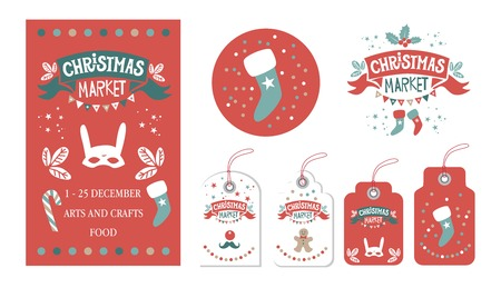 Christmas Set with tags, stickers, label, poster. Christmas Market emblem, sign. Festive decor, garlands, gifts, Christmas sweets, Christmas trees, socks, masks. For winter Seasons Greetings