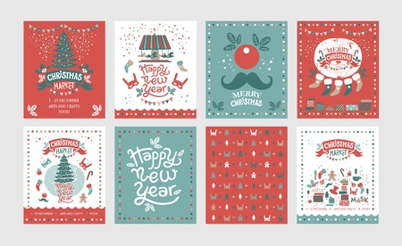 A set of posters or postcards Christmas market, Happy New year and Christmas with festive decor, garlands, gifts, a carousel with horses, Christmas sweets, Christmas trees, socks, gifts, masks Illustration