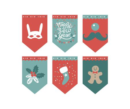 Flags design set for a festive garland with the inscription Happy New year. Mask rabbit, garland, confetti, sock for gifts. For new year decoration of rooms, Christmas trees, fair, market Illustration