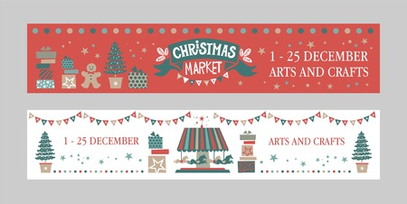 Christmas market poster Set. Christmas Market emblem, sign. Christmas market poster template. Illustration gift, cookie man, garlands, Christmas trees, garlands. For winter Seasons Greetings