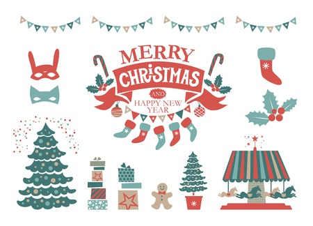 Christmas Set with Christmas elements. Merry Christmas and Happy New Year emblem, sign. Carousel with horses, garlands, gifts,  Christmas trees, socks, masks. For tags, label, poster, postcard