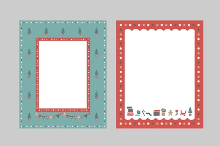 Christmas frames set for congratulations, invitations, postcards. Christmas tree, garland, gift boxes, confetti, cookie man, Christmas sweets. For postcard, poster, invitation. Vector illustration