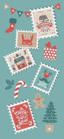 Christmas set with Christmas elements on stamps. Merry Christmas and happy New year emblem, sign. Carousel with horses, garlands, gifts, trees, socks, masks. For tags, label, poster, postcard Illustration