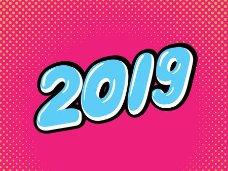 Happy New Year card design in pop art style. Happy new year greeting illustration with pink 2019 numbers. Vector illustration