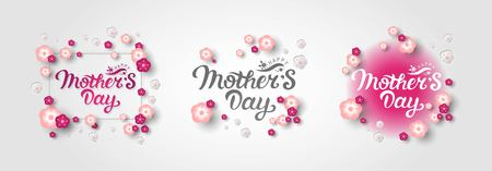 Happy Mothers Day hand drawn  lettering. Greeting card with flowers in pink tones. Vector illustration, template for Happy Mothers day, greeting card, web, postcard