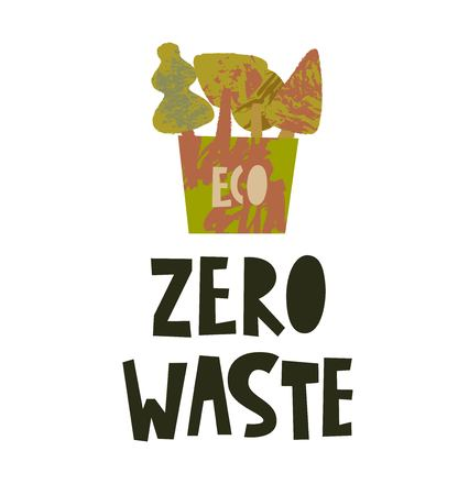 Zero waste lifestyle poster. Plastic elements on white background. Eco style. No plastic. Vector illustration