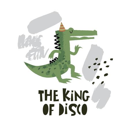 Cute crocodile dancing illustration with text The king of disco on hand drawn shapes background. Vector flat cartoon illustration for card, poster, nursery, fabric