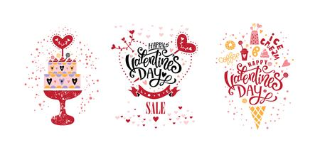 Happy Valentines Day vector design set. Hand lettering text isolated on white background. For greeting cards, poster, banner