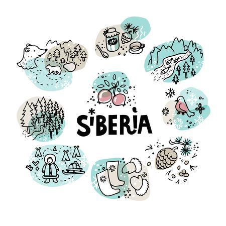 Sibirien-ikonische Symbole: ein Bär und Bären, Gimpel, Inuit oder Tschuktschen, ethnische Nationalität, Preiselbeeren, Fluss, Fisch, Taiga, Wald, Stiefel, Kiefernkegel.