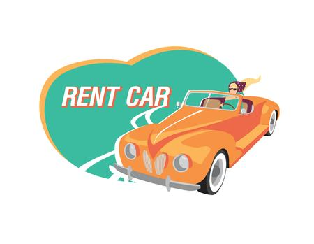 Rent car poster, emblem, sign design. Girl in red convertible car. Vector illustration in cartoon retro style Иллюстрация