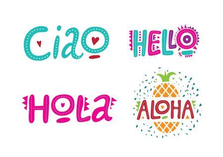 Zestaw pozdrowień w różnych językach, witaj, hola, ciao, aloha. Ręcznie rysowane napis z elementami dekoracyjnymi. Ilustracja wektorowa. Ilustracje wektorowe