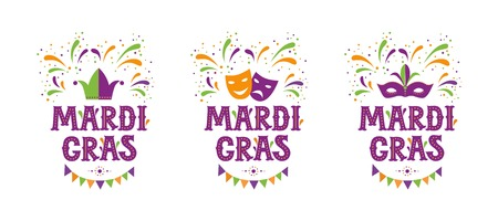 Mardi gras party design set. Vector background with fireworks and garland. Fat tuesday, carnival. Vector illustration. For poster, card, web, invitation. Vektorové ilustrace