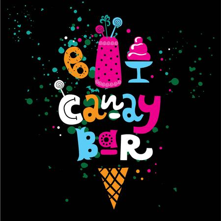 Hand-drawn Lettering text Candy bar with sweets, cake and waffle cone. Vector flat logo for candy shop and sweet store. Good for children print template. Candy bar logo. Lollipop sign