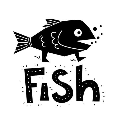 Illustration of a funny walking fish in cartoon style. Ideal for children's goods, to print on t-shirts, dresses, shoes, bags