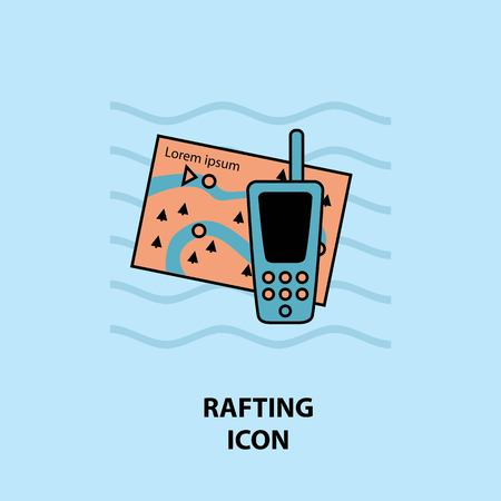 Set of rafting icons. Vector illustration for website, print and advertising.