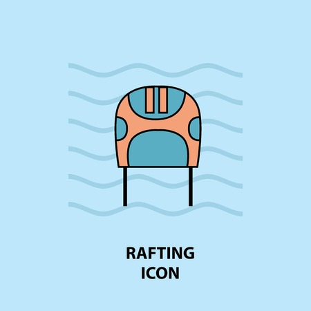Set of rafting icons. Vector illustration for website, print and advertising. Water sport protective helmet