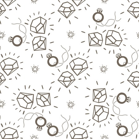 Seamless pattern illustration of sparkling diamonds and the ring on the chain. For jewelry stores, shops, jewelry stores and exhibitions.