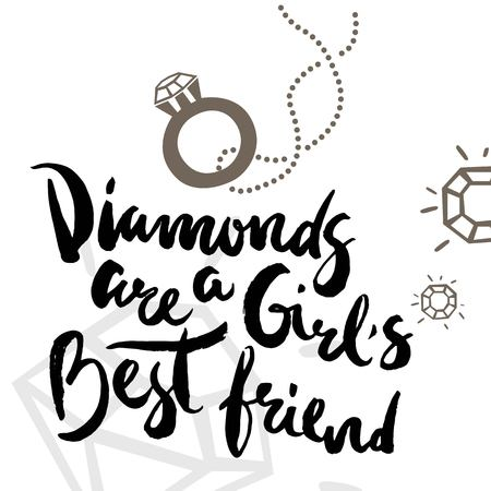 Poster with calligraphic phrase Diamonds are a girl's best friend. For jewelry stores, printing for parties.