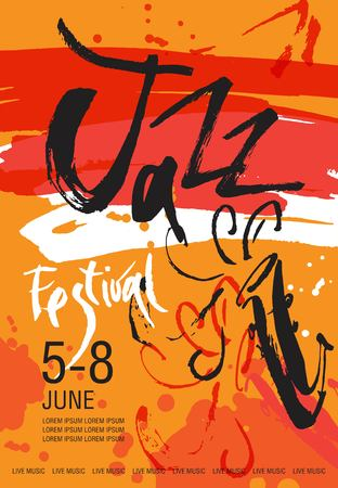 Vector Jazz festival poster template. Hand drawn illustration and lettering. Calligraphic style. Perfect for music events, jazz concerts, music store.