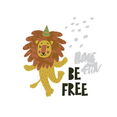 Cute lion dancing illustration with text Be free on hand drawn shapes background. Vector flat cartoon illustration for card, poster, nursery, fabric  イラスト・ベクター素材