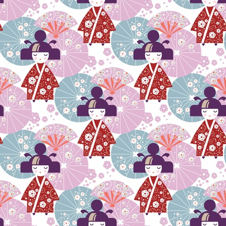 Seamless pattern Japanese Girl, Kokeshi doll with national Japanese umbrellas and cherry blossom flowers. For packaging design, bed linen, covers, packages, clothing, packaging paper design, nursery