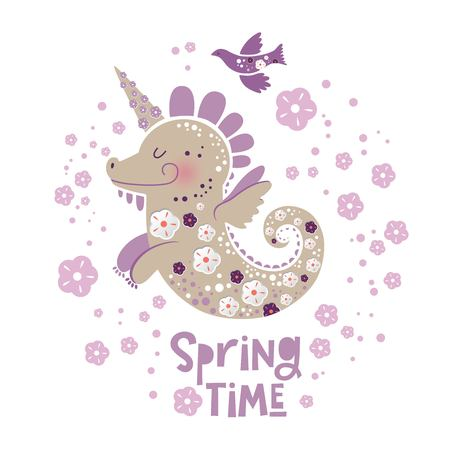 Illustration of unicorn dragon with floral decor and text Spring time. Ideal for baby posters, spring season greetings, invitations, textile prints