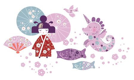 Fantasy set of Japanese girl and dragon unicorn in cartoon style. Kokeshi doll, fan, umbrella, dragon, unicorn, Japanese lanterns, fish. Vector illustration Çizim
