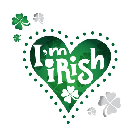 Happy Saint Patrick's Day. Text I am irish in the heart. Four leaf clover. Beer festival. Vector illustration Vettoriali