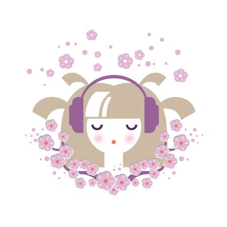 Illustration of a girl in headphones with floral decor in cartoon style. For spring season greetings, postcards, posters in childrens, prints. Vector illustration