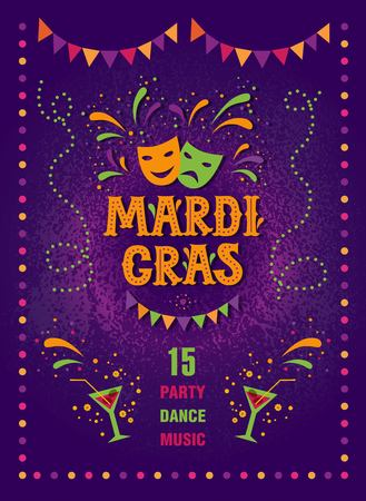 Mardi gras carnival party design. Fat tuesday, carnival, festival. Vector illustration. For greeting card, banner, gift packaging, poster