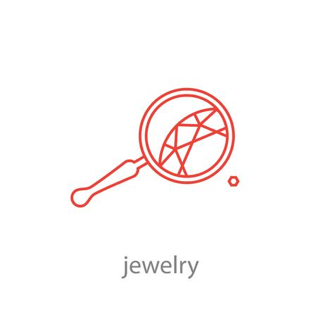 Set of professional jeweler tools and working stages jeweler. Icon crystal under the magnifying glass jeweler
