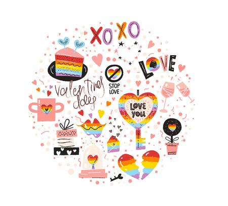 Valentines Day icons set design with hand drawn elements, Broken Rainbow heart, lips, Love text, piece of cake, mug for two, glass ball, Stop love sign. LGBT pride design. Vector illustration