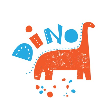 Illustration of a Dinosaur with the words Dino. Ideal for children's goods, to print on t-shirts, dresses, shoes, bags Stock Illustratie