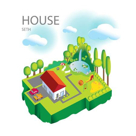 Vector illustration of house on your lawn with a Seating area for adults and a Playground for children, two cars and a pond with a waterfall Illusztráció