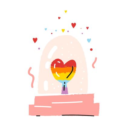 Glass globe souvenir with a rainbow heart inside cute vector illustration in cartoon style. Love mail. LGBT pride design. Valentines day design for card, poster, invitation