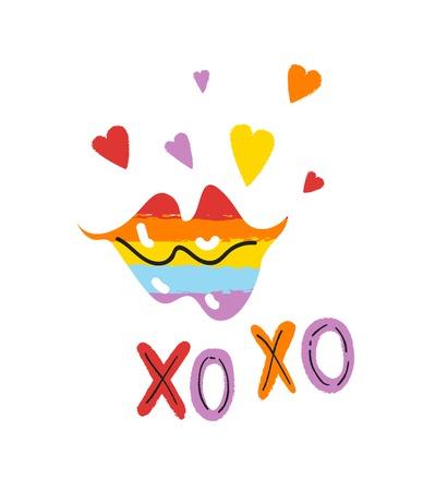 Diseño de tarjetas de felicitación del día de San Valentín. Texto XO XO y labios rosados con corazones. Diseño de orgullo LGBT. Ilustración de vector de amor día de San Valentín para tarjeta, cartel, invitación, diseño de fiesta Ilustración de vector