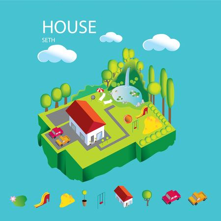 Vector illustration of house on your lawn with a Seating area for adults and a Playground for children, two cars and a pond with a waterfall. Vector illustration