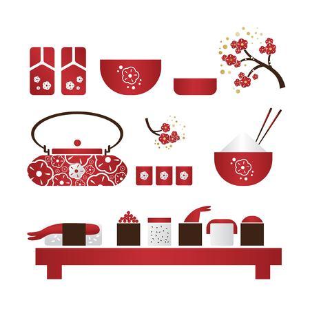 Kokeshi, japanese toy, sakura branches, wreath of flowers, lantern. Girl in traditional Japanese kimono. Anime cartoon style. For seasonal greetings, cards, invitations, posters. Vector illustration