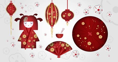 Set of Japanese girl, Kokeshi doll, fan, umbrella, Japanese lanterns, cup with rice and sticks. Chinese new year. Eastern culture, subjects. Vector illustration